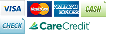 We accept Visa, MasterCard, American Express, Cash, Check and CareCredit.